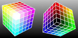Figure 9: The CMYK model is best demonstrated with a cube. The view on the right shows the back sides and bottom of the cube on the left.
